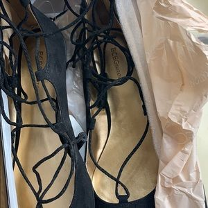 Bcbg lace up flats with zipper back